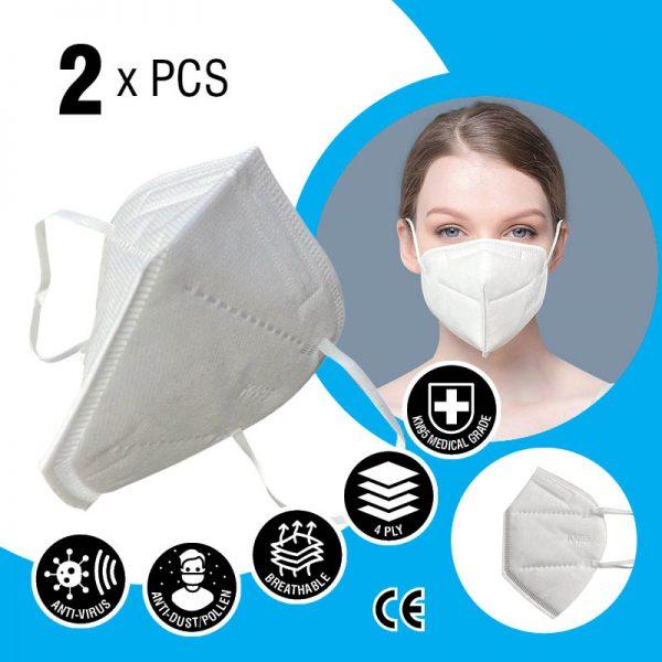 kn95 face mask 4 layers 2 x pcs